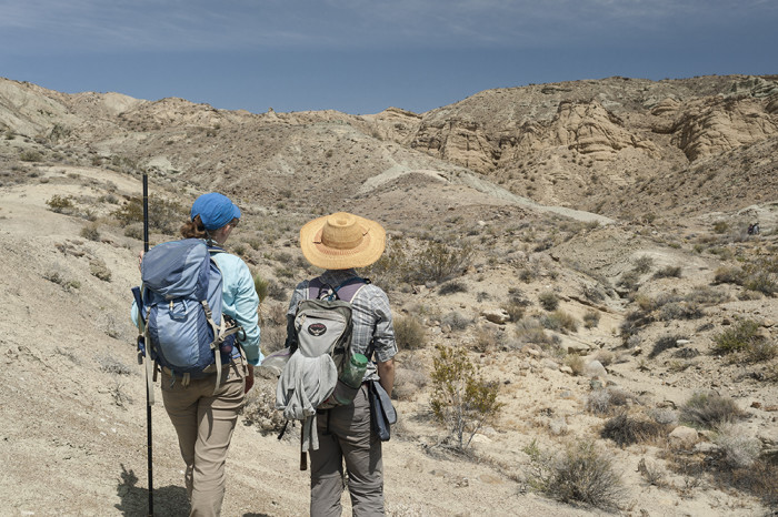 Graduate students Tara Smiley (left) and Katie Loughney (right) contemplating the landscape they are about to start measuring in Barstow. © 2015 Kelsey Vance