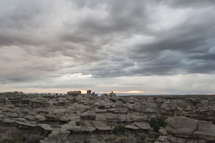 Part of the unique landscape of the Bisti/De-Na-Zin Wilderness and the threatening clouds we had overhead at sunset. © 2015 Kelsey Vance